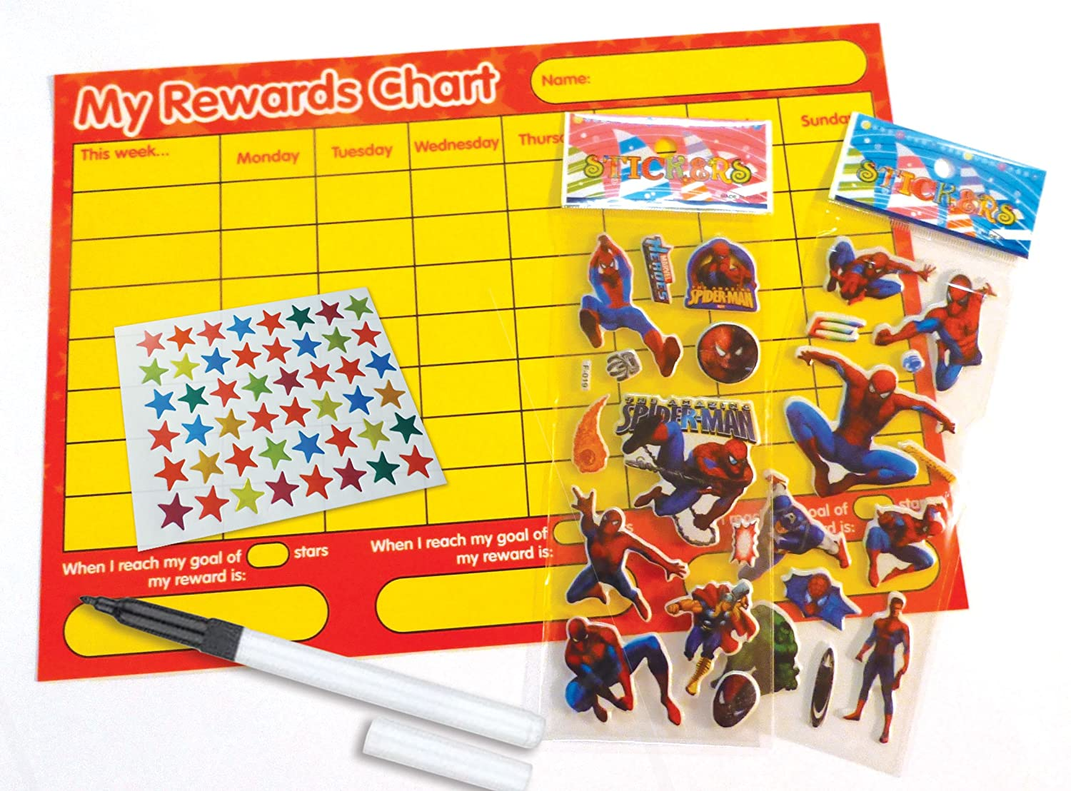 re usable reward chart including star stickers spiderman re usable reward chart including star stickers spiderman stickers and pen red yellow design amazon co uk toys games