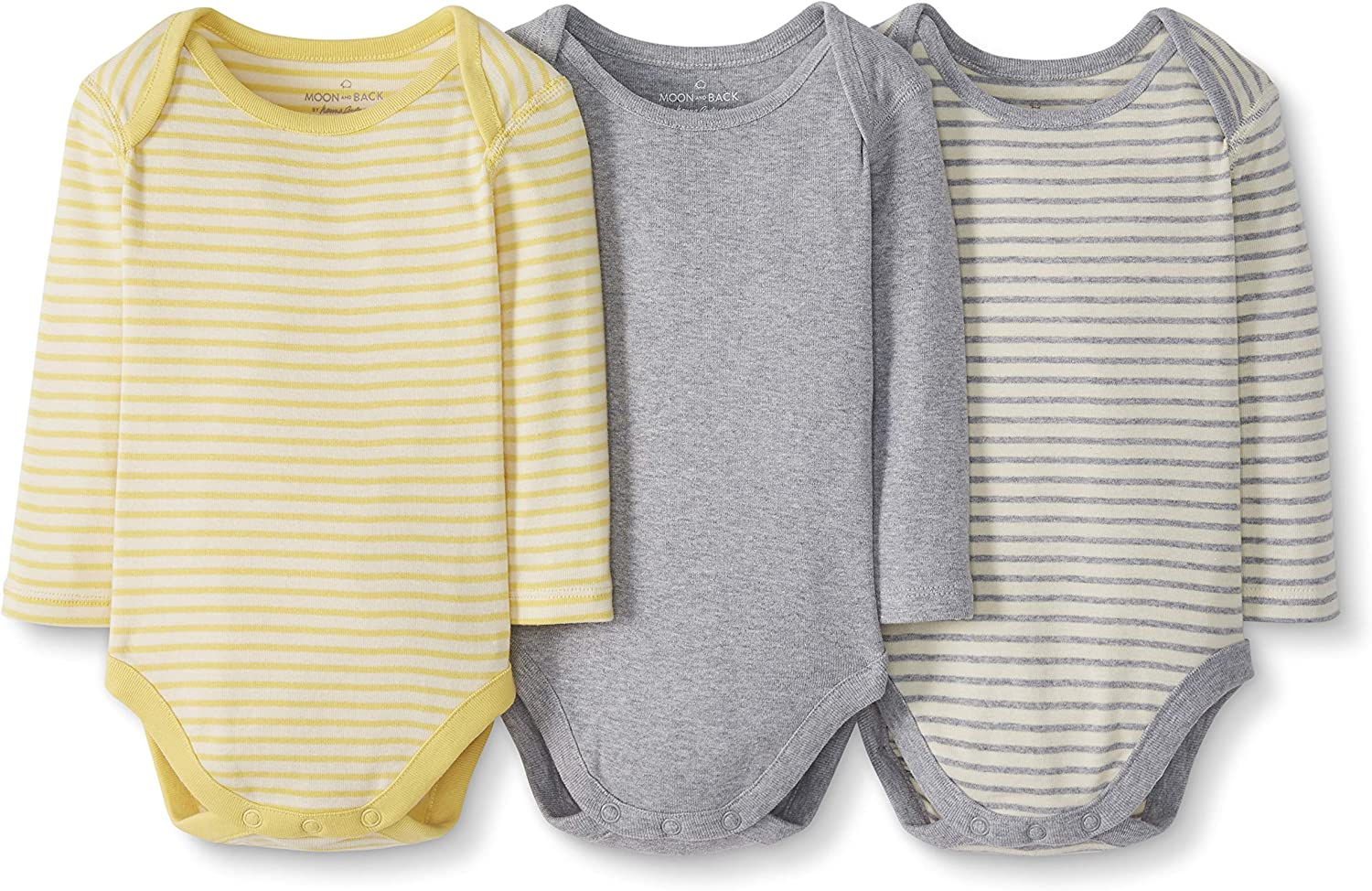Moon and Back by Hanna Andersson Baby Boys and Girls 3 Pk Long Sleeve Bodysuit