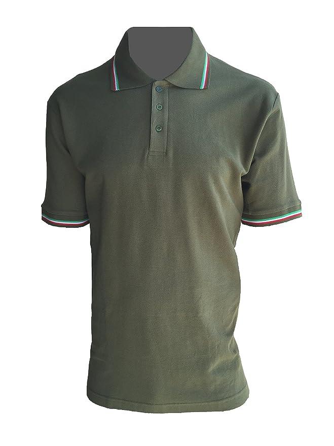 Polo Manga Corta Con bordo Tricolor verde militar, VERDE: Amazon ...