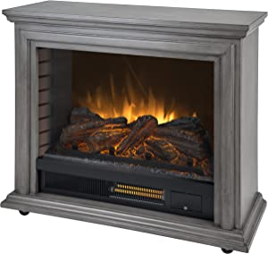 Pleasant Hearth Dark Weathered Sheridan Mobile Infrared Fireplace - Grey,