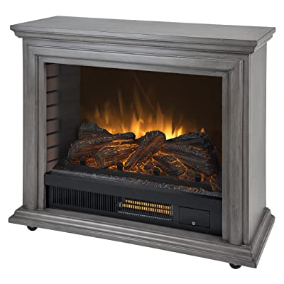 Pleasant Hearth Dark Weathered Sheridan Mobile Infrared Fireplace