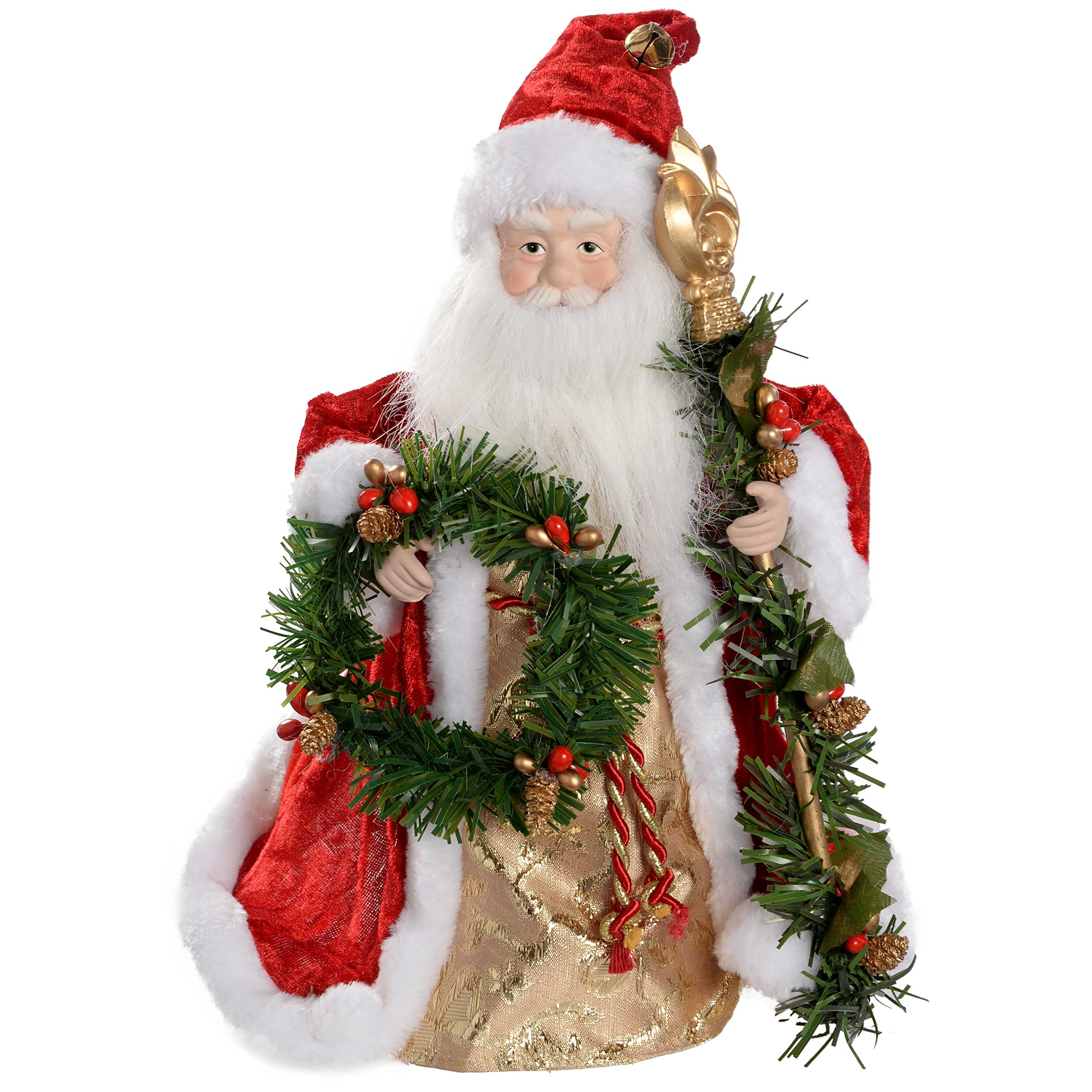 WeRChristmas 30 cm Santa Decoration Christmas Tree Top Topper, Red/ Gold