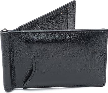 Wallet ID Card holder Coin Purse Pocket Men/'s Full-grain Leather Money Clip