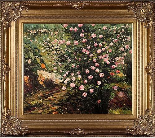 overstockArt Rosebush in Blossom with Renaissance Bronze Framed Oil Painting, 34 x 30