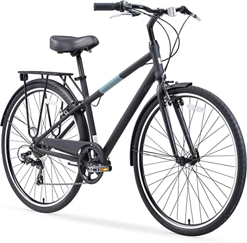 sixthreezero Reach Your Destination Men s Hybrid Bike with Rear Rack, 28 Inches, 7-Speed, Matte Black