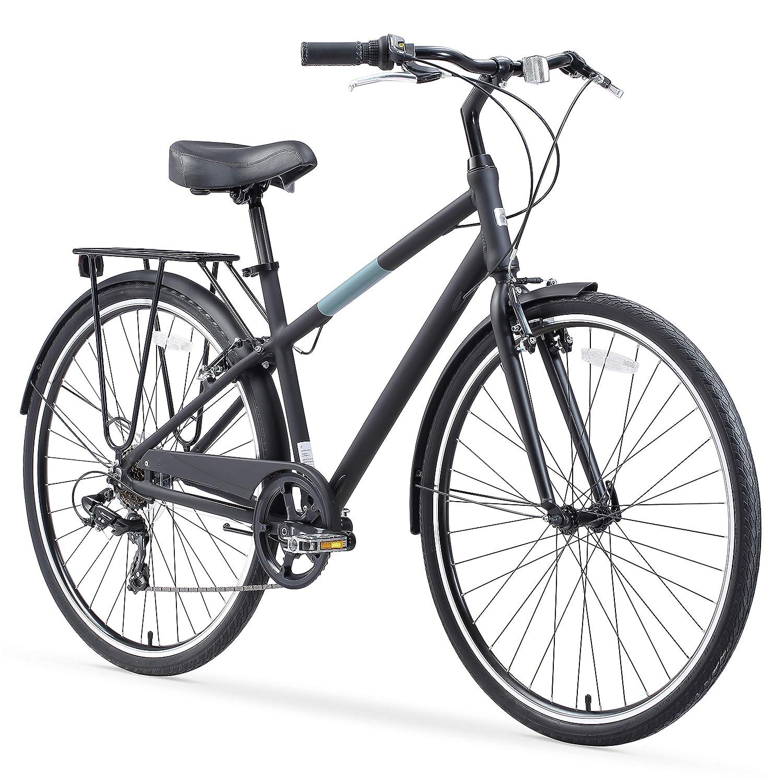 sixthreezero Reach Your Destination Men s Hybrid Bike with Rear Rack, 28 Inches, 7-Speed, Matte Black