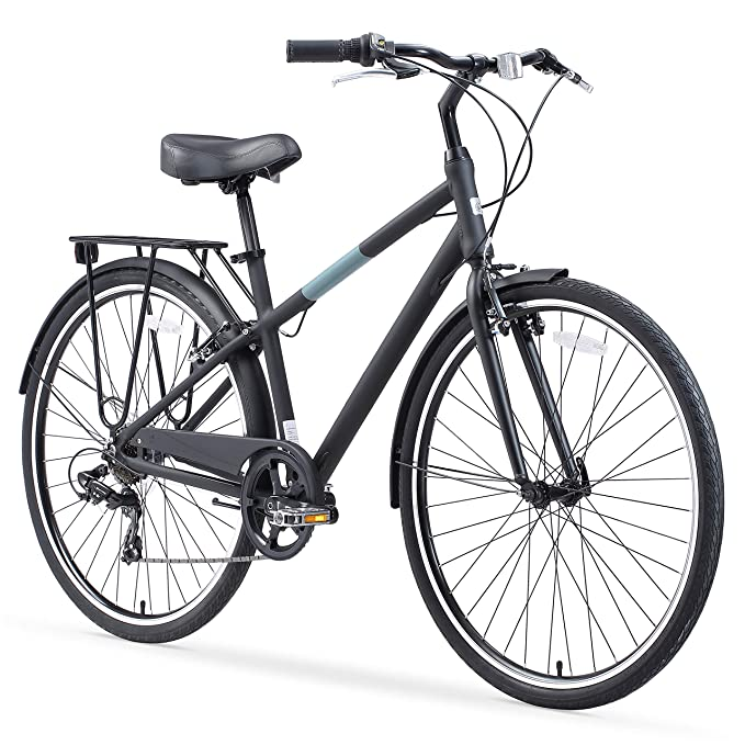 sixthreezero Reach Your Destination Men's Hybrid Bike with Rear Rack, 28 Inches, 7-Speed, Matte Black best hybrid bikes