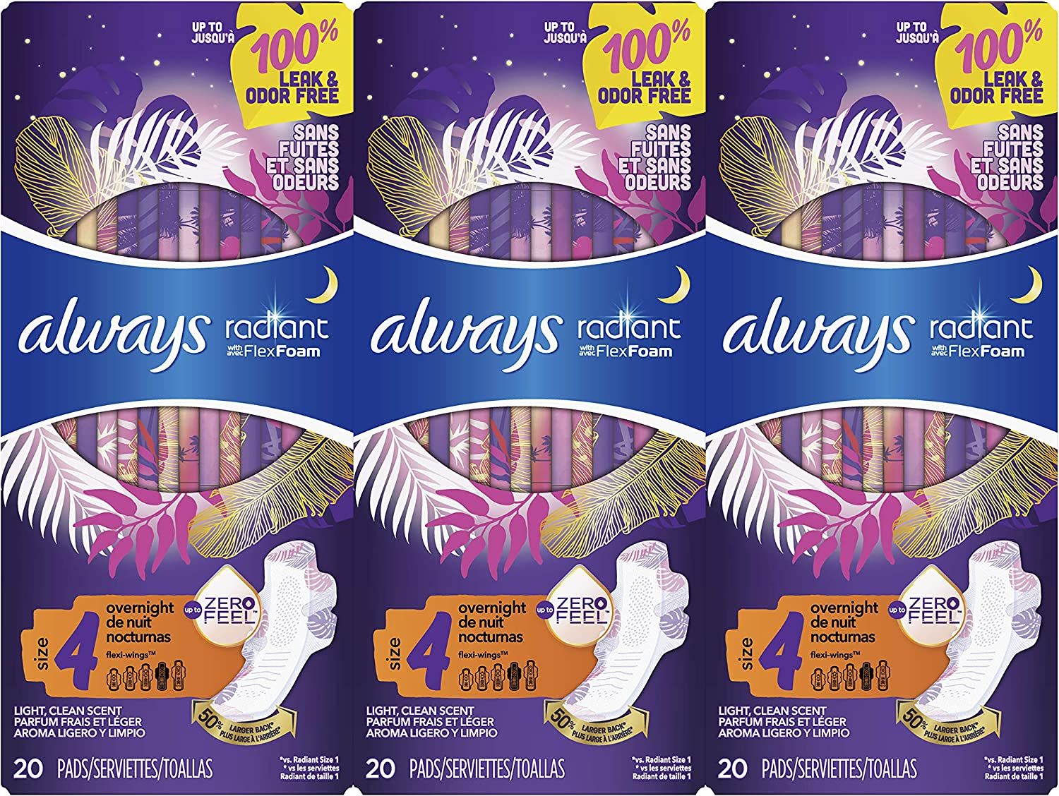 Always Radiant Feminine Pads for Women, Size 4, 60 Count, Overnight Absorbency, With Wings, Scented (20 Count, Pack of 3 - 60 Count Total)