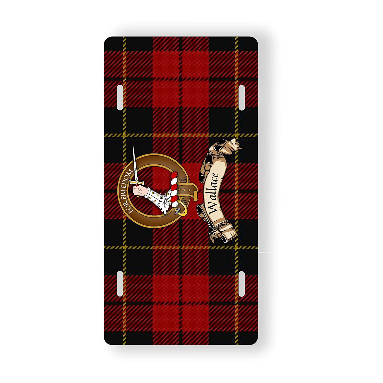 Wallace Scottish Clan Red Tartan Novelty Auto Plate