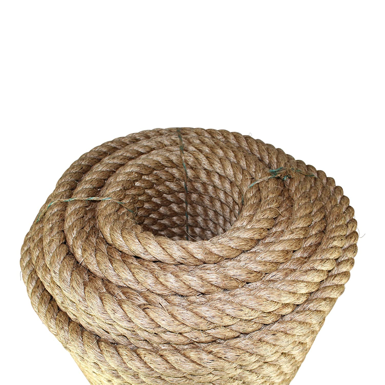 Thick Heavy Duty Rustic Outdoor Cordage for Craft Decorative Landscaping Twisted Manila Rope Hemp Rope - SGT KNOTS Tree Hanging Swing Climbing Tan Brown Natural Rope 1//4 in x 100 ft Dock