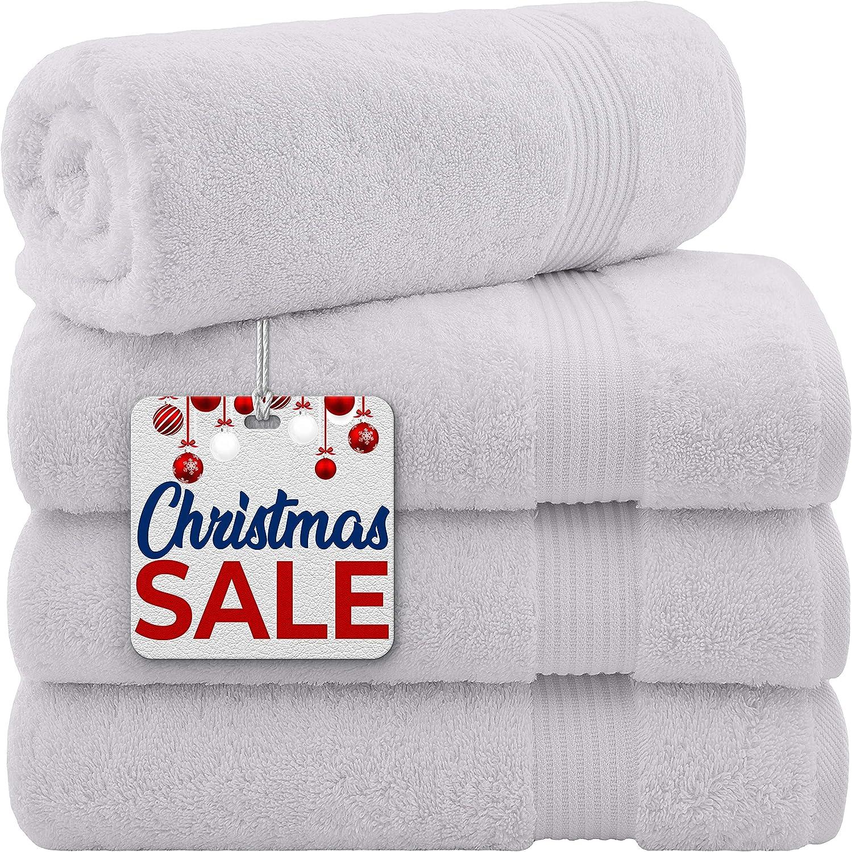 Hotel & Spa Quality 100% Turkish Genuine Cotton, Absorbent & Soft Decorative Luxury 4-Piece Bath Towel Set by United Home Textile, Snow White