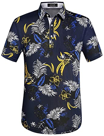 SSLR Men s Prints Regular Fit Short Sleeve Casual Hawaiian Polo Shirt  (Large 7de5149d3