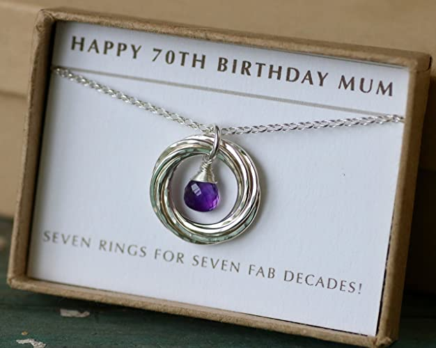 70th Birthday Gift For Mother February Mum Amethyst Necklace Birthstone