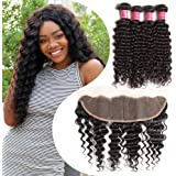 Nadula Brazilian Deep Wave 3 Bundles With Closure 7A 100% Unprocessed Brazilian Remy Virgin Human Hair Bundles Weave Natural Color
