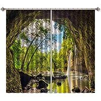 3D Rock Cave Waterfall Landscape 885 Blockout Photo Curtain Print Curtains Drapes Fabric Window | 3D Large Photo Curtain, AJ WALLPAPER AU Summer (360cmx270cm(WxH)【141''x 106''】)
