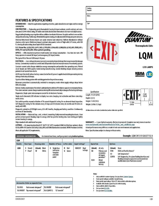 Lithonia Lighting LQM S 3 G 120/277 EL N M6 1W LED Exit Sign White ...