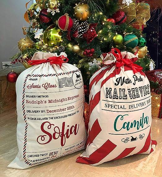 2x Plush Christmas Santa with Sack 2 Piece Plush Figure Gift Bags 21x20cm NEW