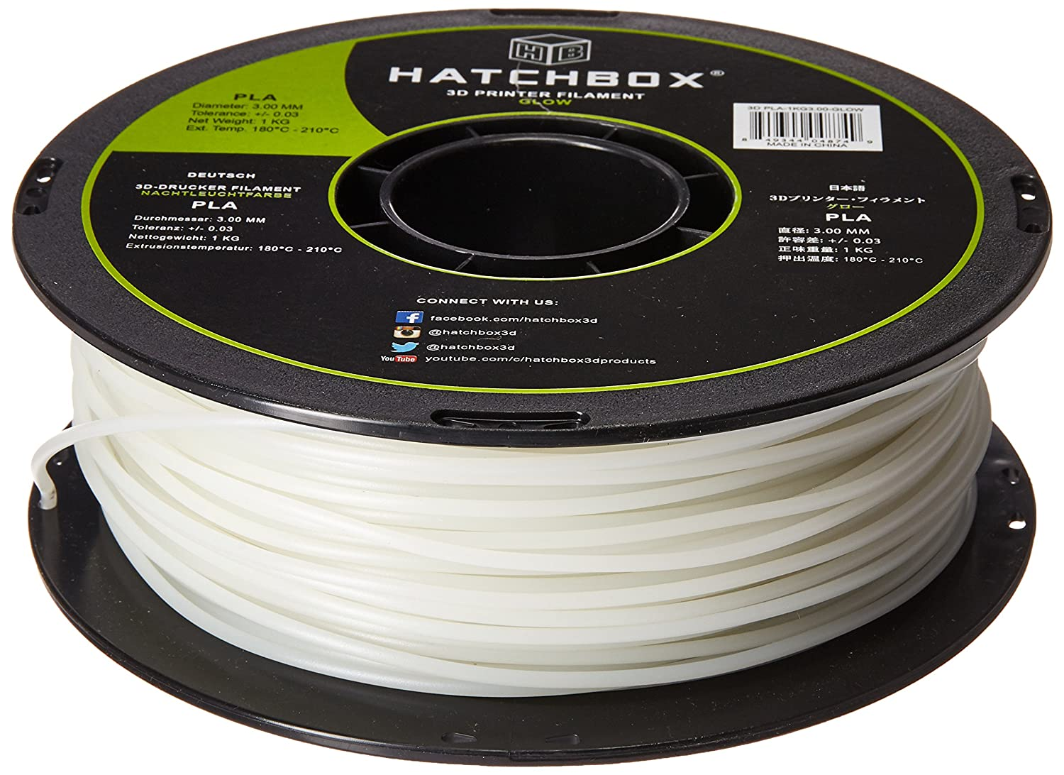HATCHBOX 3D PLA-1KG3.00-GLOW PLA 3D Printer Filament, Diional Accuracy on tube assembly, tube terminals, tube fuses, tube dimensions,
