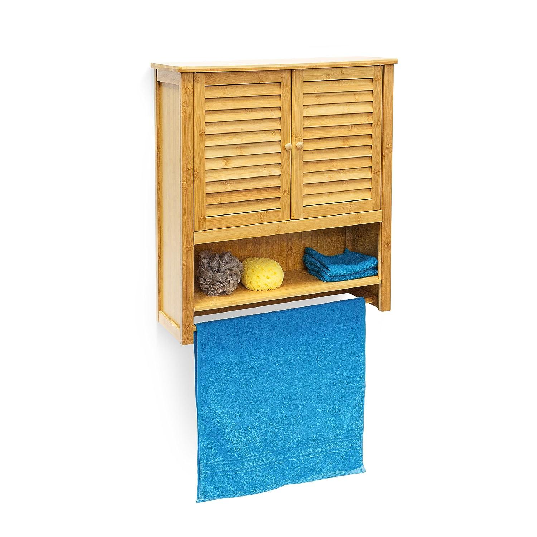 Relaxdays Hängeschrank LAMELL Bambus HBT  66 x 60 x 20 cm Badschrank zum Hängen mit Handtuchhalter Badezimmerschrank mit 2 Türen und Regalfach Bad Schrank als Oberschrank Badhängeschrank, natur