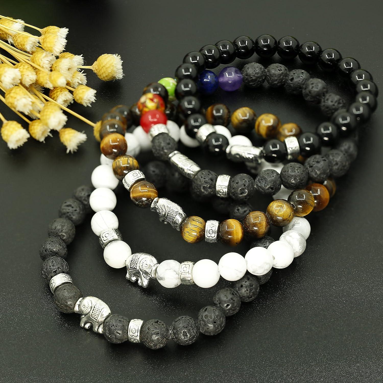 LOLIAS 4-5 Pcs Natural Stone Bead Bracelet for Men Women Elephant Chakras Bracelet Set Adjustable L-SDL-DX-5