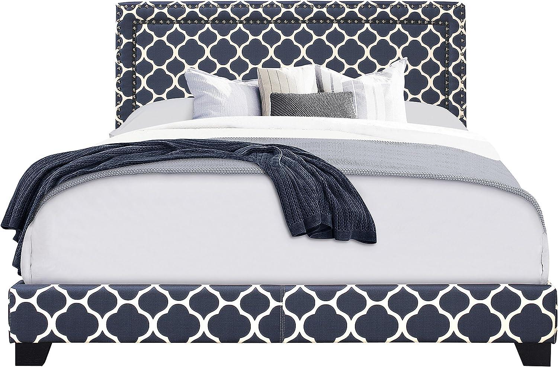 Pulaski Nail Head Trim in Marine Blue, 80 W x 86 L x 50 H Upholstered King Bed,