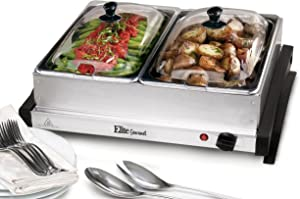 Elite Gourmet EWM-6122SC Dual Buffet Server Food Warmer Adjustable Temp, For Parties & Holidays, 2 x 2.5Qt Trays with Slotted Lids, Stainless Steel