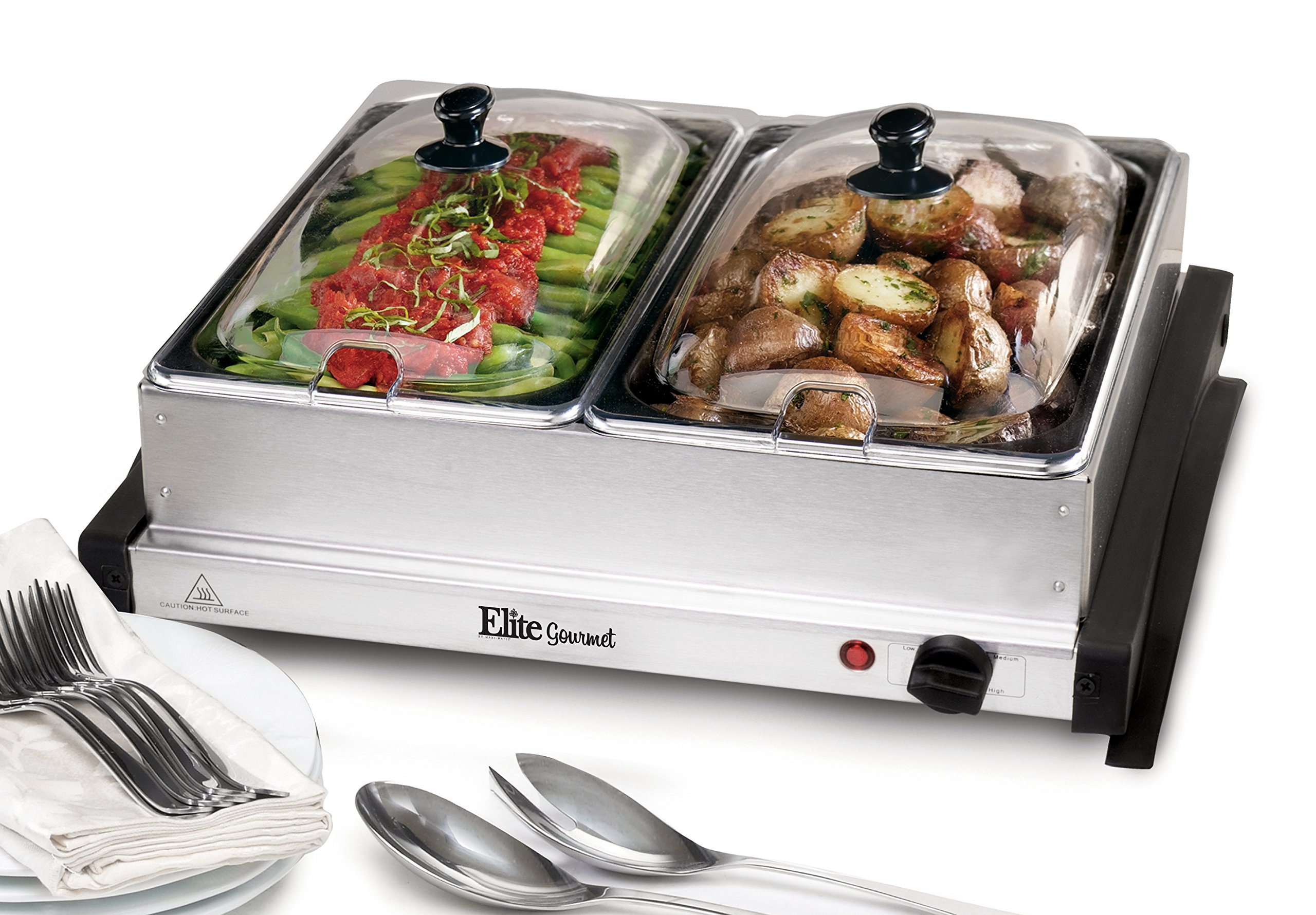 Elite Gourmet EWM-6122 Dual Server Food Warmer, Adjustable Temp For For Parties & Holidays, 2 x 2.5Qt Buffet Trays with Slotted Lids, Perfect for Parties, Entertaining & Holidays, Stainless Steel by Maxi-Matic