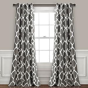 "Lush Decor Connor Geo Room Darkening Window Curtain Panel Pair, 84"" x 52"", Gray"