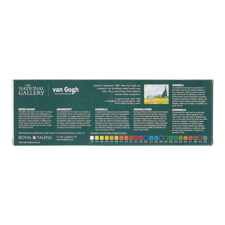 National Gallery metalen set 24 kleuren napjes aquarel aquarelverf met penseel transparante waterverf