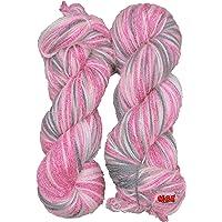 Oswal Wool Knitting Yarn Wool, Multi Pink Grey 200 gm Woolen Crochet Yarn Thread. Best Used with Knitting Needles, Crochet Needles. Vardhman Wool Yarn for Knitting. Best Woolen Thread.
