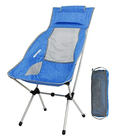 MARCHWAY Portable Lightweight Folding High Back Camping Chair With Headrest  For Outdoor Travel, Sport,