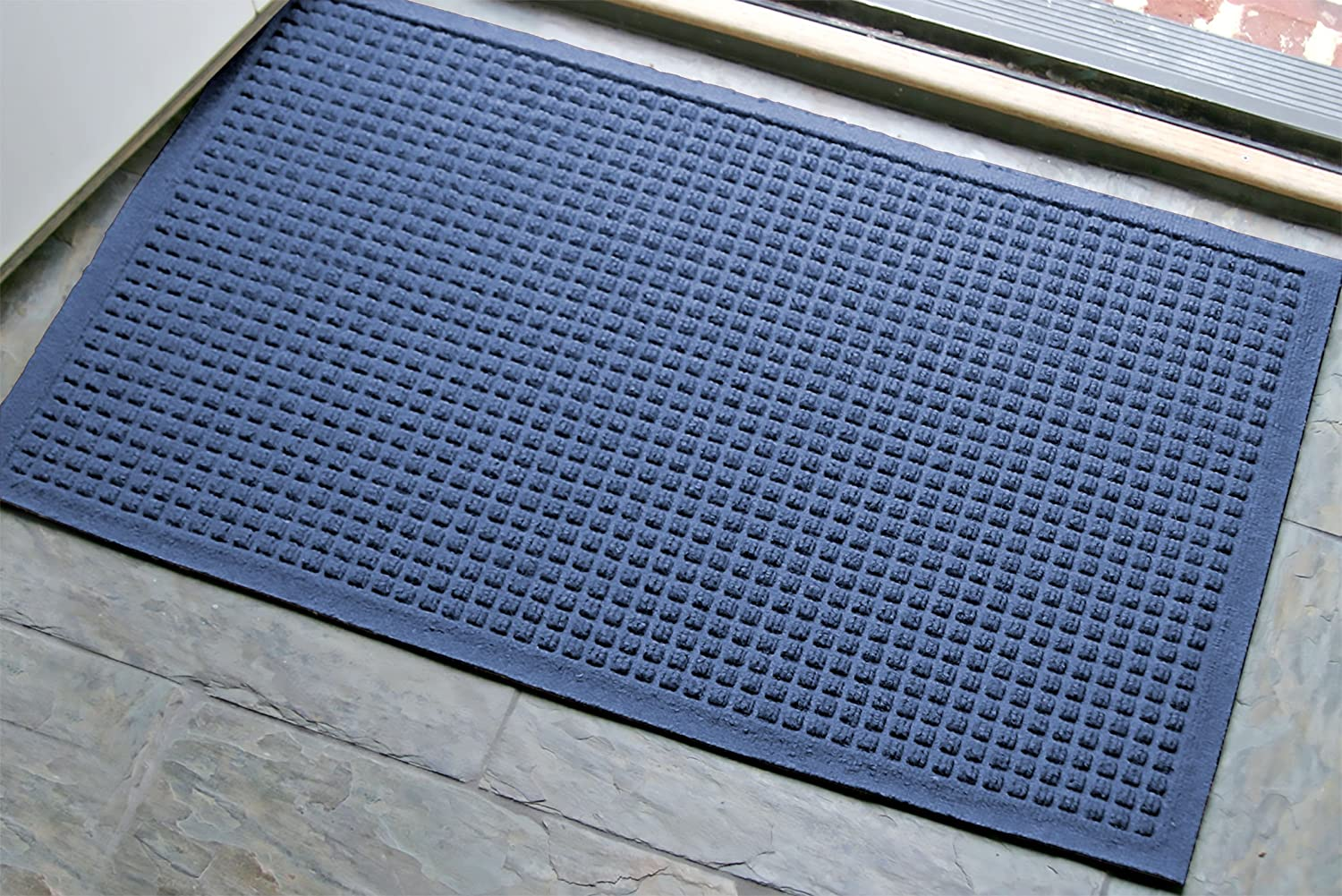 WaterHog Fashion Commercial-Grade Entrance Mat, Indoor/Outdoor Charcoal Floor Mat 3' Length x 2' Width, Navy by M+A Matting