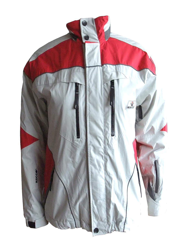 Maul MegaTex warme Skijacke, Funktionsjacke, Outdoorjacke mit Recco Lawinenrettungssystem Herren 277DT grau/rot