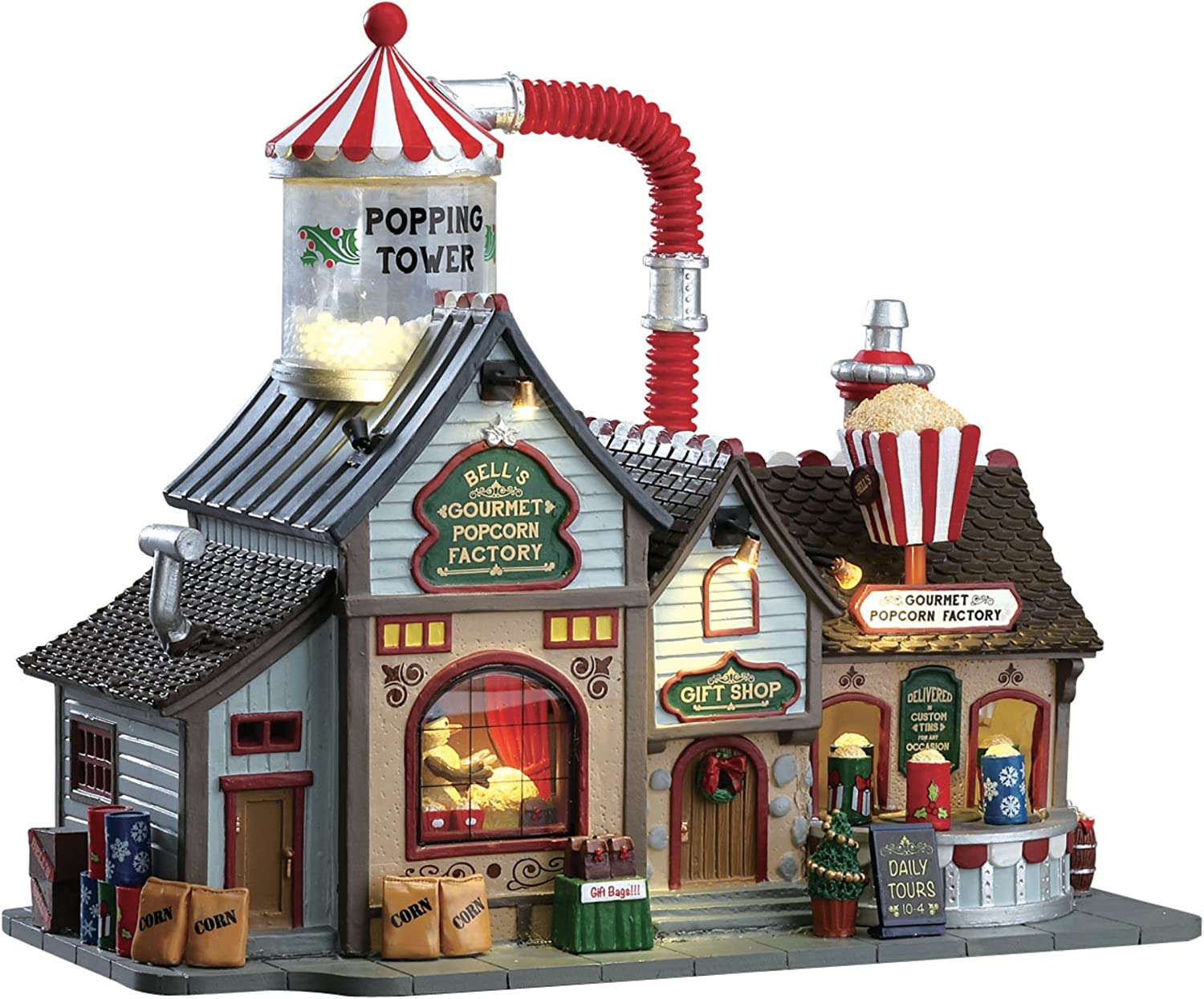 Carole Towne Christmas Village Patrick POPCORN FACTORY Sight Sound Animated New