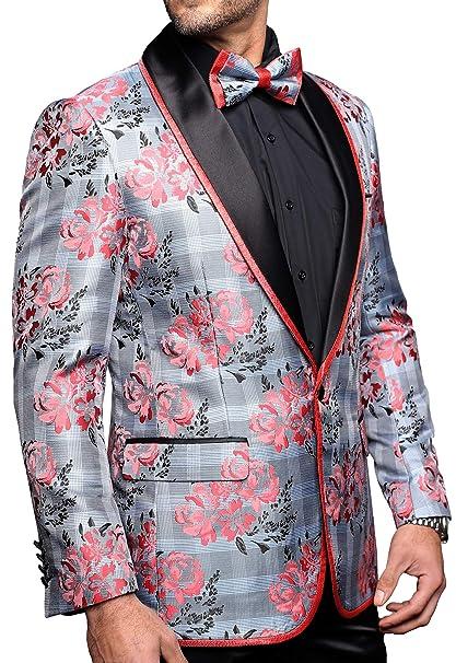 Amazon.com: Chaqueta de lujo para hombre, diseño floral ...
