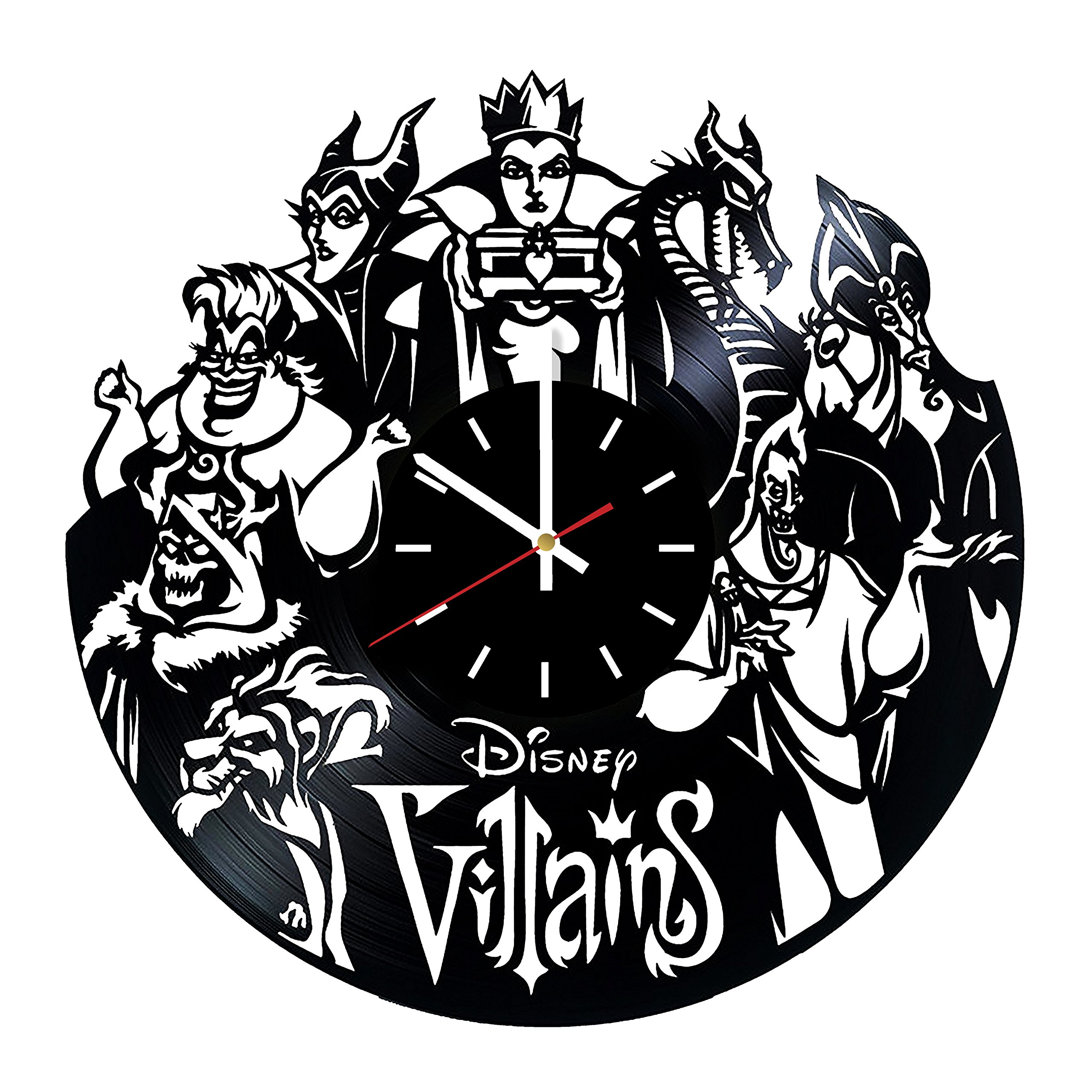 Everyday Arts Welcome Disney Villains Design Vinyl Record Wall Clock - Get Unique Bedroom or Garage Wall Decor - Gift Ideas for Friends, Brother – Disney Villains Unique Modern Art by Everyday Arts