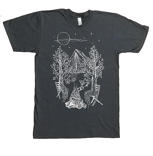e7e7b1935651 Camping Tshirts for Men - Funny T Shirt - Graphic Printed Short Sleeve  Charcoal S M L XL XXL