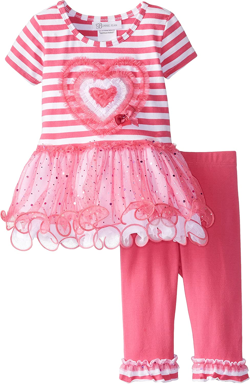 Bonnie Jean St Valentine/'s Baby Girls Striped Red Heart Tutu PINK RED Dress Set