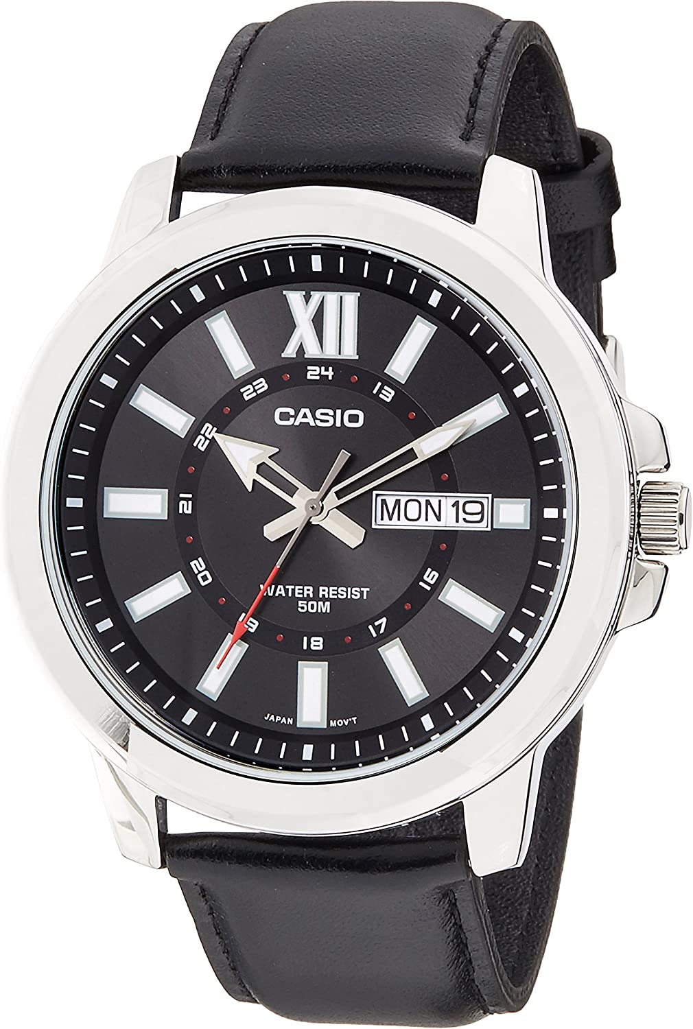 Casio MTP-X100L-1AV Men s Black Leather Watch, Day Date Large