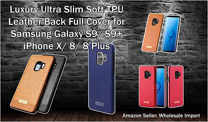 finest selection 94ad1 cc80f Amazon.com: Slim Leather Cell Phone Case for Samsung S9/ S9+ and ...