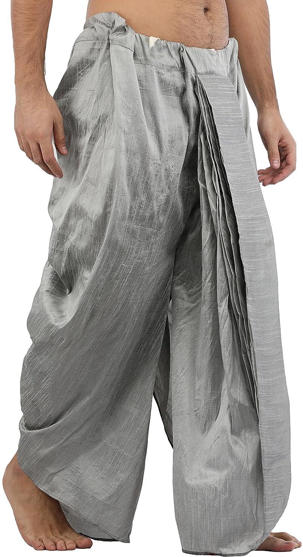 Maenner-Dhoti-Dupion-Silk-Plain-handgefertigt-fuer-Pooja-Casual-Hochzeit-Wear Indexbild 15