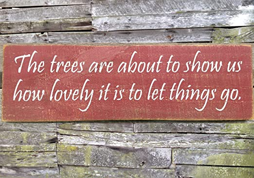 CELYCASY Trees Leting Things Go - Cartel de Madera con Texto ...