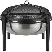 Harima Braséro de camping en acier inoxydable avec grille de barbecue de jardin chromée et grillage contre les étincelles Housse contre la pluie Brûleur à bois Usage extérieur 63 cm de diamètre