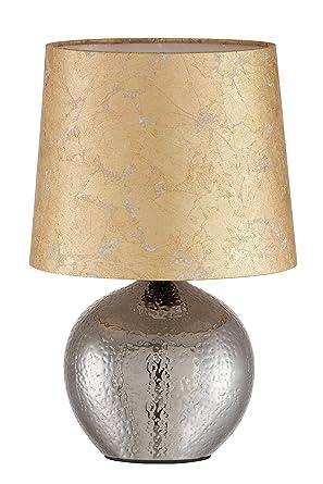 Briloner Leuchten, lámpara de mesa pantalla de tela dorada y ...