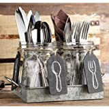 Set of 4 Clear Glass Mason Jars with Hanging Chalkboards on Galvanized Tray with Handles - Flatware Caddy Organizer - Relish Tray - Candle HolderSet for Home & Parties