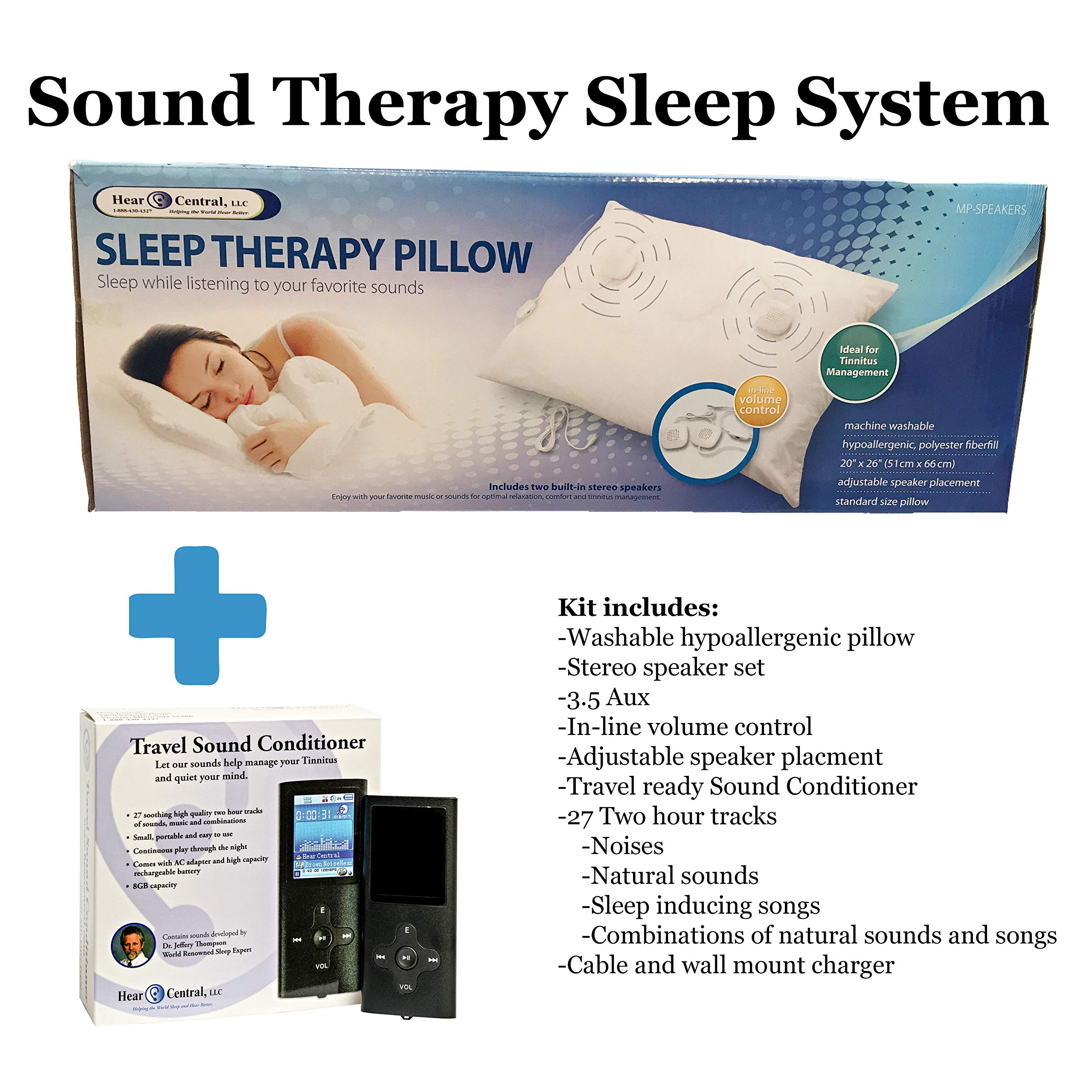 Sound Therapy Sleep System by Hear Central: Sleep Therapy, Tinnitus, Music Pillow, Travel Sound Conditioner, Helping The World Sleep Better