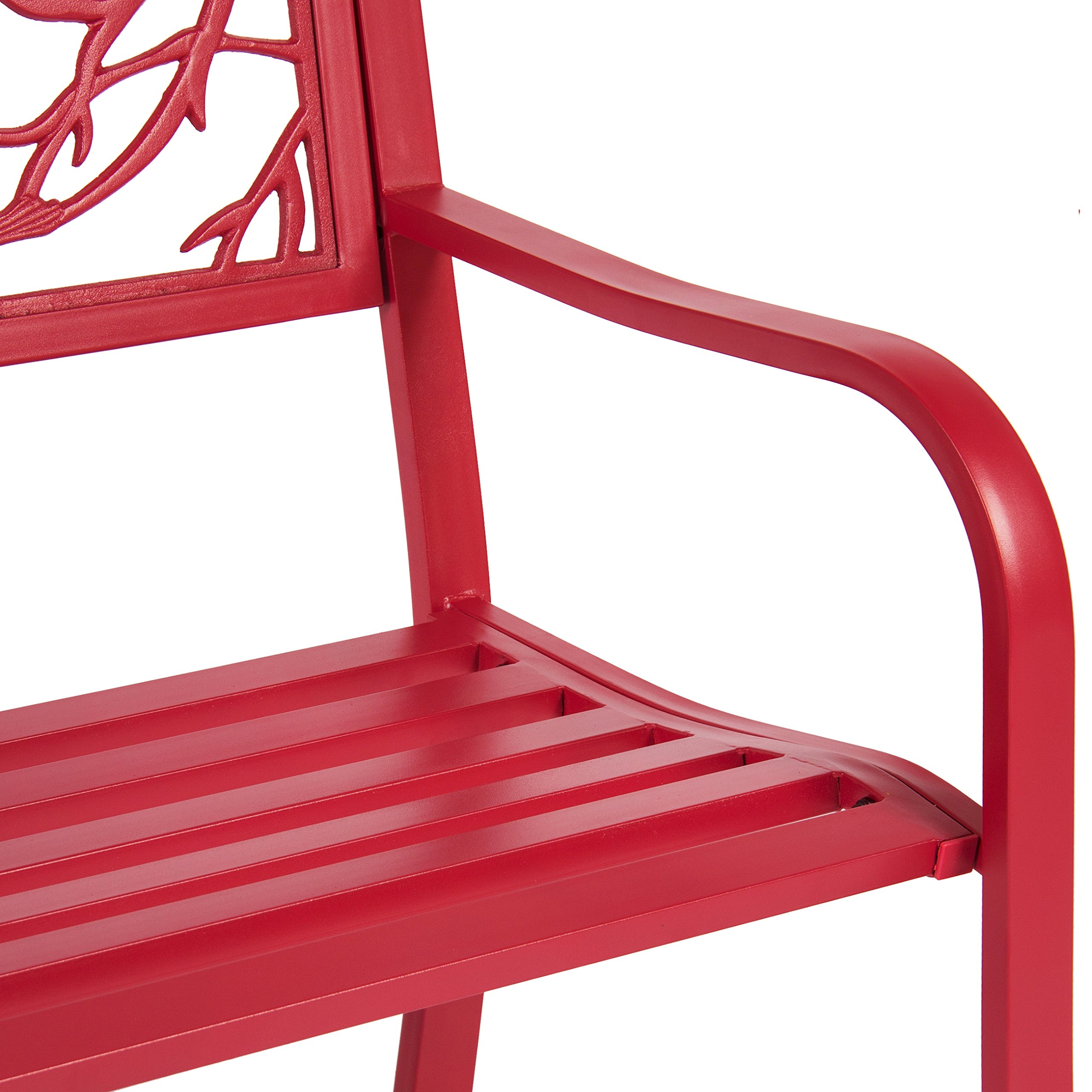 Best Choice Products Steel Park Bench Porch Furniture for Outdoor, Garden, Patio - Red by Best Choice Products (Image #4)