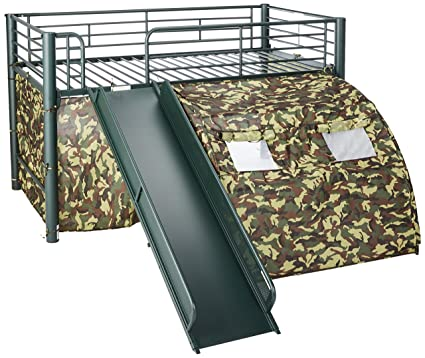 Amazon Com Oates Lofted Bed With Slide And Tent Army Green And