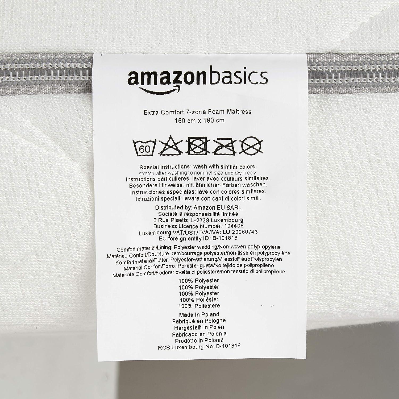 AmazonBasics - Colchón de espuma de 7 zonas extraconfortable 160 x190 cm: Amazon.es: Hogar