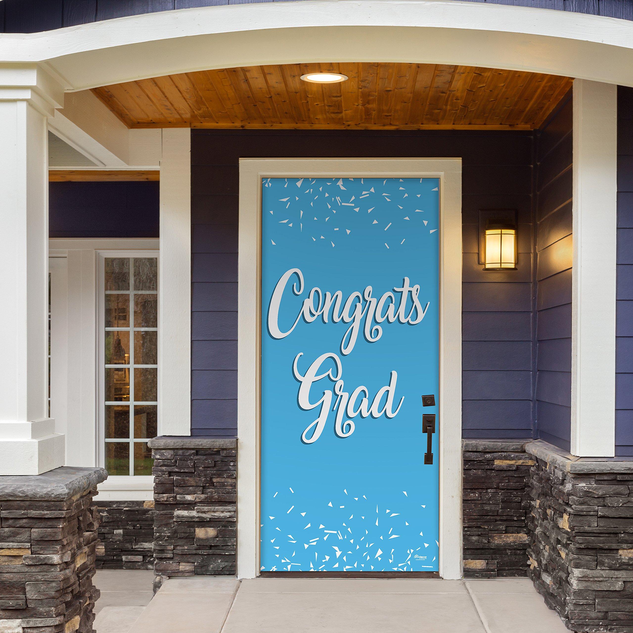 Victory Corps Congrats Grad Light Blue - Outdoor GRADUATION Garage Door Banner Mural Sign Décor 36'' x 80'' One Size Fits All Front Door Car Garage -The Original Holiday Front Door Banner Decor